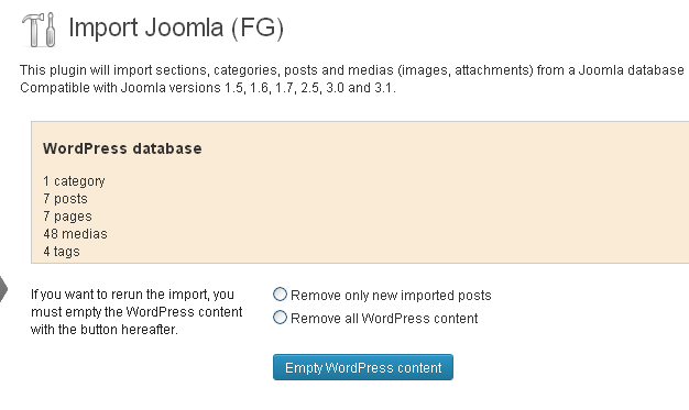 Wordpress brisanje sadžaja