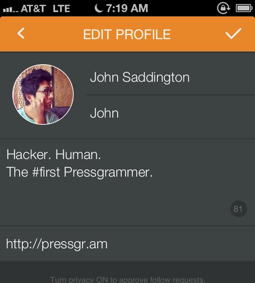 Pressgram uređivanje profila