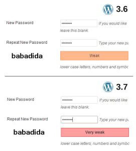 Mjerač jačine lozinke WordPress 3.7