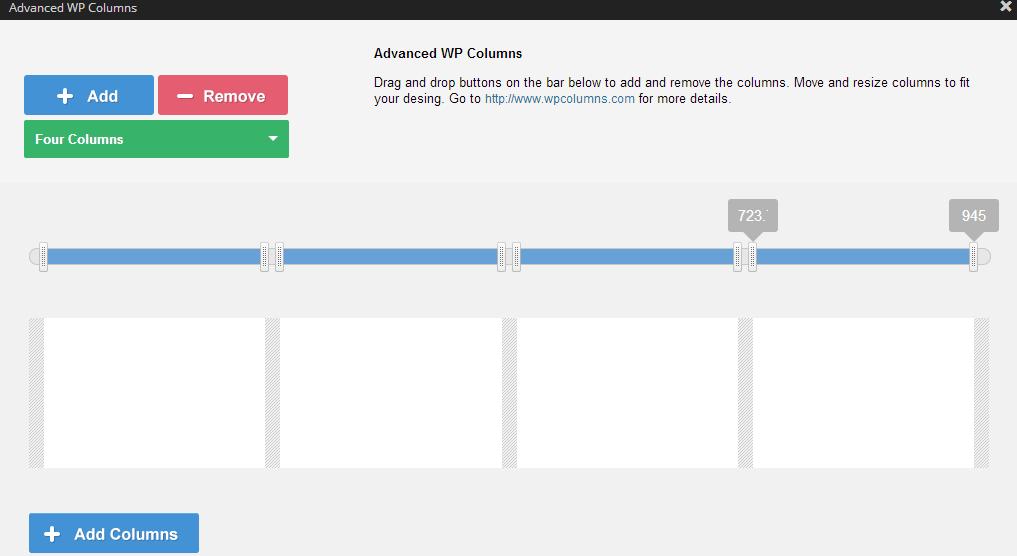 Advanced WP Columns - prilagođavanje širine kolona