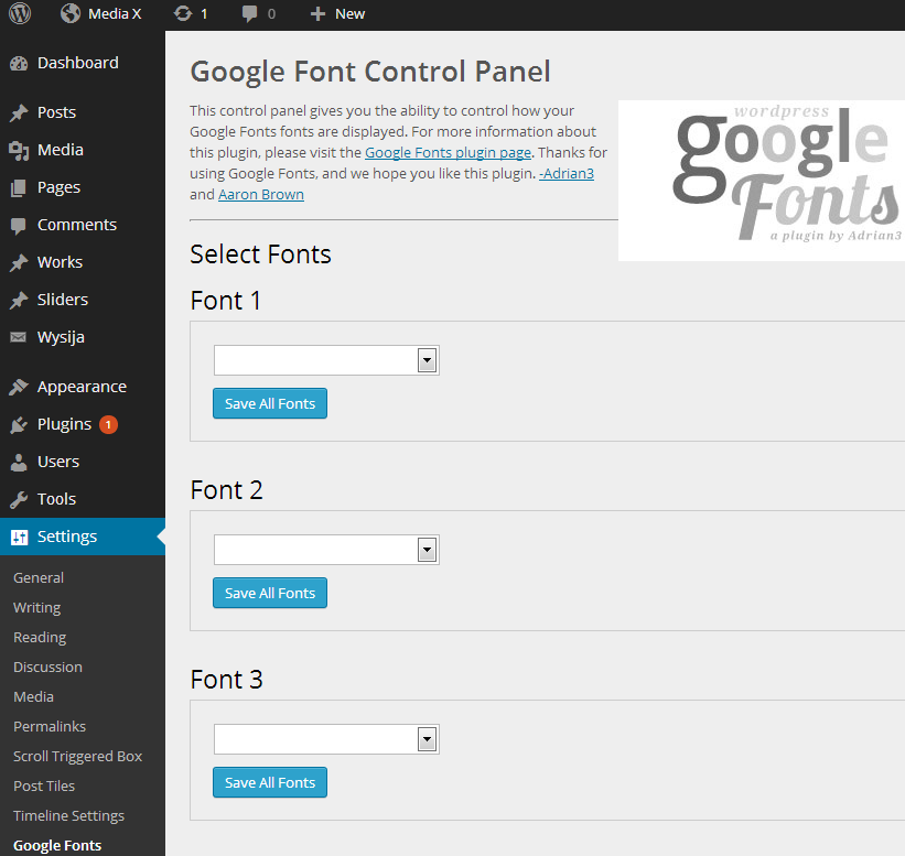 Google Fonts plugin postavke