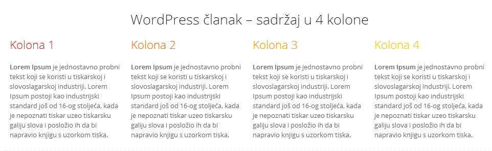 WordPress – kolone