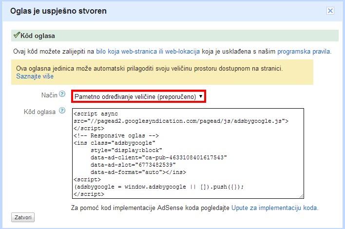 02 Google AdSense - Pametno dimenzioniranje
