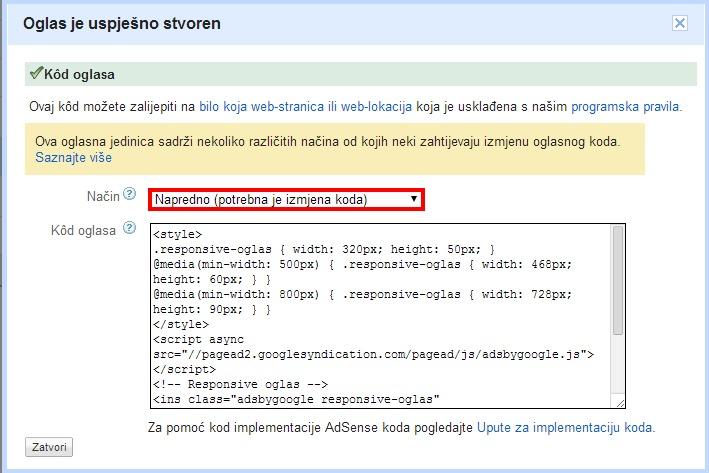 Google AdSense - Napredno dimenzioniranje