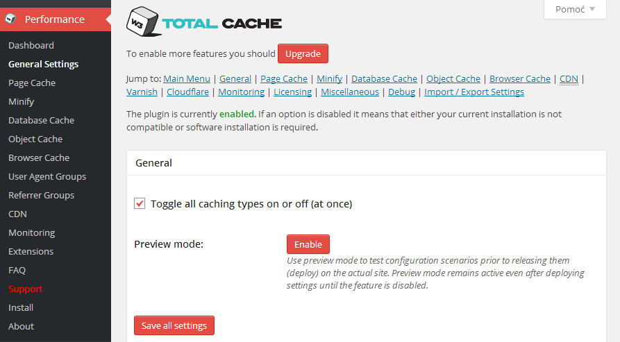 General Settings   W3 Total Cache  WordPress