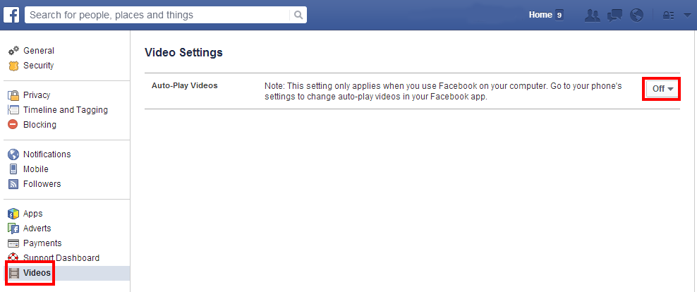 Facebook Video Settings