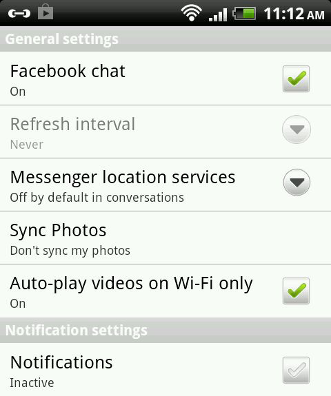 android fb settings