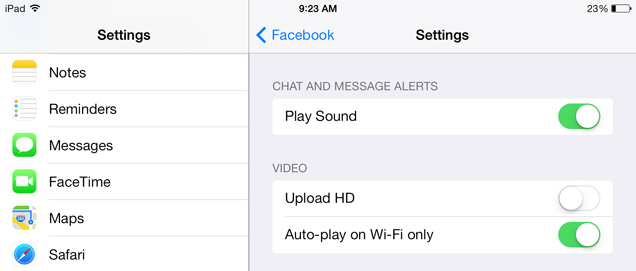 ios fb settings