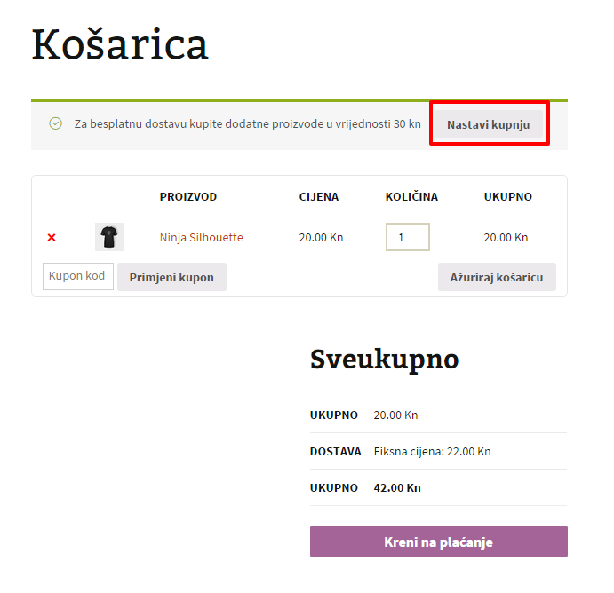 Košarica plus button