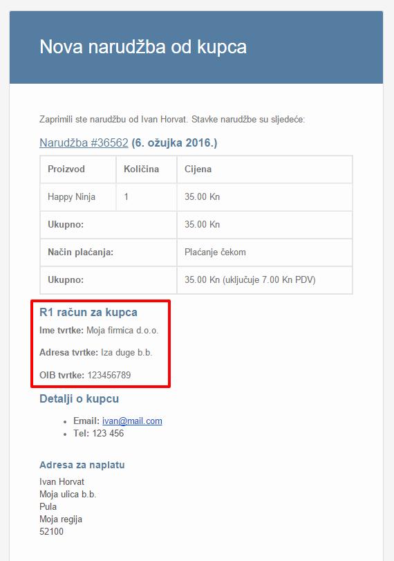 Email nove narudžbe s podacima za R1 račun